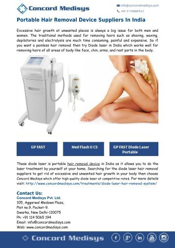 Concord Medisys- Portable Hair Removal Device Suppliers In India