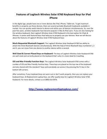 Features of Logitech Wireless Solar K760 Keyboard Keys for iPad iPhone