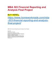 MBA 503 Financial Reporting and Analysis Final Project