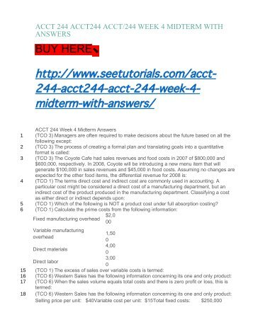 ACCT 244 ACCT244 ACCT:244 WEEK 4 MIDTERM WITH ANSWERS