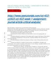 CRJ 422 CRJ422 CRJ:422 WEEK 1 ASSIGNMENT JOURNAL ARTICLE CRITICAL ANALYSIS