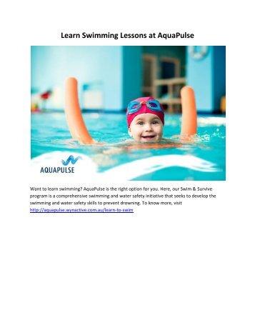 Learn Swimming Lessons at AquaPulse