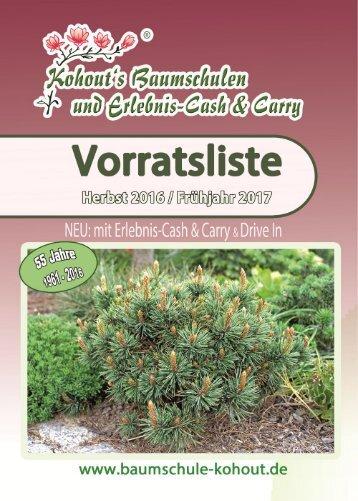 Baumschule Kohout Vorratsliste Herbst 2016 / Frühjahr 2017