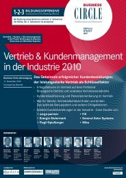 Vertrieb & Kundenmanagement in der Industrie 2010 - Business Circle