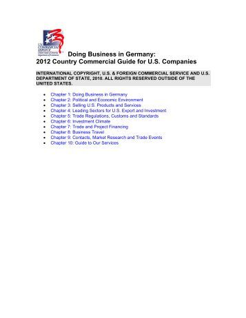 Doing Business In Germany: A Country Commercial ... - Export.gov