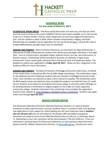 GUIDANCE NEWS For the week of March 6 2017 SERVICE OPPORTUNITIES