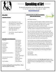 May 2012 The Monthly Newsletter of the Wilmington Art Association