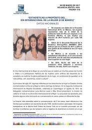 """DÍA INTERNACIONAL DE LA MUJER (8 DE MARZO)"""" DATOS NACIONALES"""