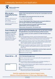 Community Services Card Application Form - Work and Income