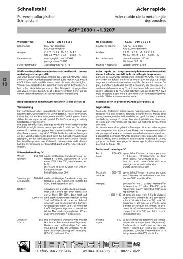 D 12 Schnellstahl Acier rapide ASP® 2030 / ~1.3207