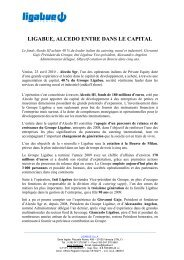 LIGABUE, ALCEDO ENTRE DANS LE CAPITAL - Ligabue Group