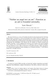 ''Neither an angel nor an ant'': Emotion as an aid to bounded rationality