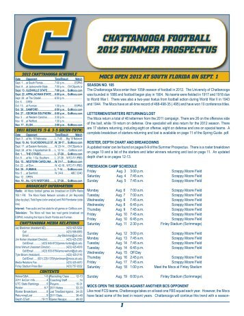 Chattanooga Football 2012 SUMMER PRoSPECtUS - UTC Athletics