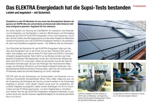 Das ELEKTRA Energiedach hat die Supsi-Tests bestanden - Soltop