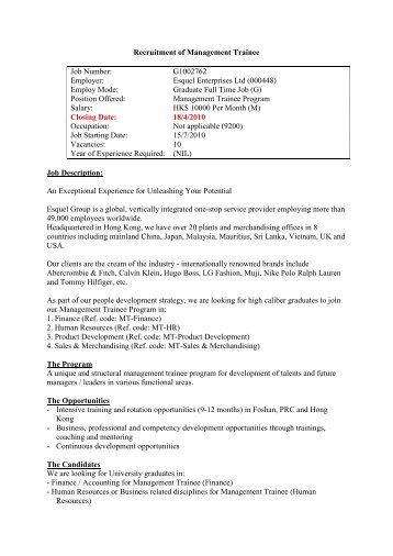 Job Description Band Manager Trainee
