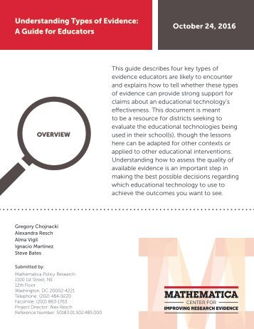 Understanding Types of Evidence A Guide for Educators October 24 2016