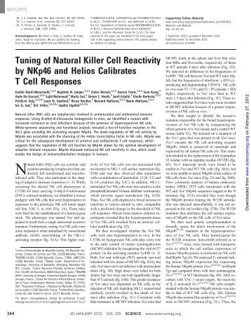 Tuning of Natural Killer Cell Reactivity by NKp46 and Helios ...