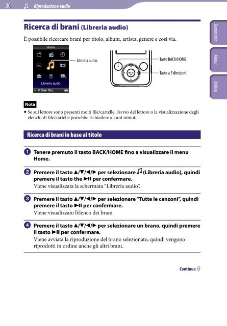 Sony NWZ-E435F - NWZ-E435F Istruzioni per l'uso Italiano