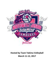 Hosted by Team Yakima Volleyball March 11-12 2017