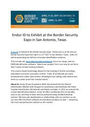 Endur ID to Exhibit at the Border Security Expo in San Antonio, Texas