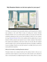 Why Plantation Shutters are the best option for your space?