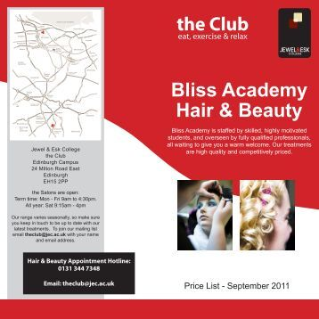 the Club Bliss Academy Hair & Beauty - Jewel and Esk College