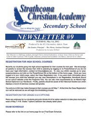 NEWSLETTER #9 - Strathcona Christian Academy Secondary