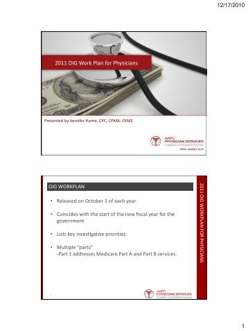 2011 OIG Work Plan for Physicians - Medical Coding and Billing