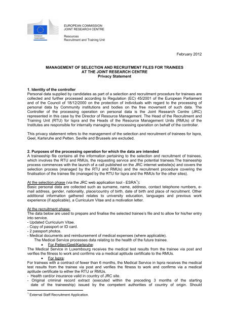 management of selection and recruitment files for trainees - Europa