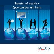 Transfer of wealth – Opportunities and limits - FBN