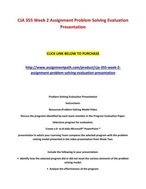 CJA 355 Week 2 Assignment Problem Solving Evaluation