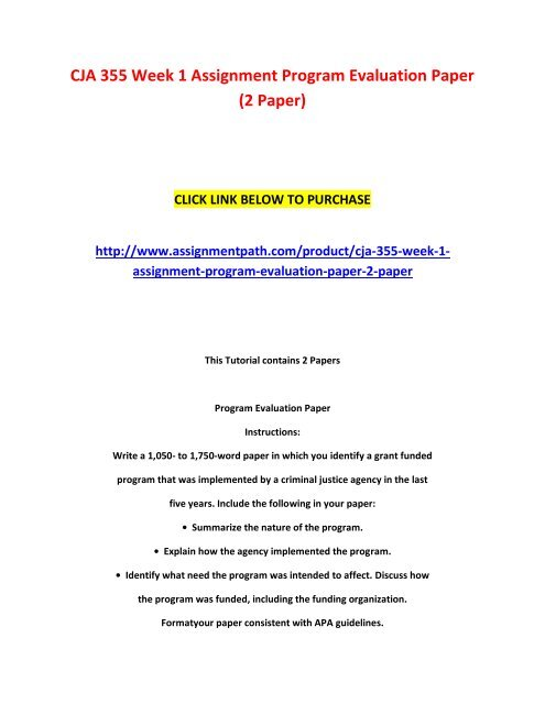 Cja  Week  Assignment Program Evaluation Paper  Paper  Help Writing Speeches also Apa Style Essay Paper  Research Buy