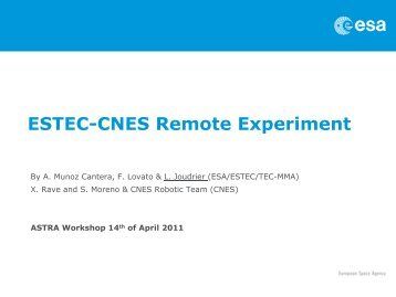 ESTEC-CNES Remote Experiment - Automation & Robotics - ESA