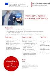 Seminar Compliance: Compliance und Risk-Management für Unternehmer - S&P Unternehmerforum - Produktnummer: B01