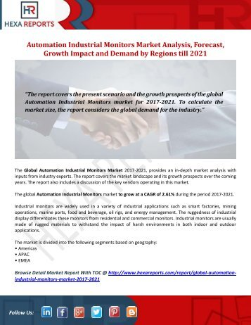 Automation Industrial Monitors Market Analysis, Forecast, Growth Impact and Demand by Regions till 2021
