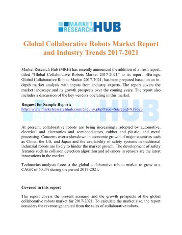 Global Collaborative Robots Market Report and Industry Trends 2017-2021