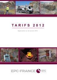Tarifs 2012 et conditions générales de vente EPC
