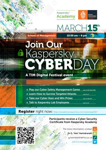 Kaspersky Cyberday invitation at the School of Management
