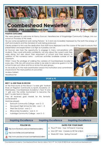 Coombeshead Academy Newsletter - Issue 53