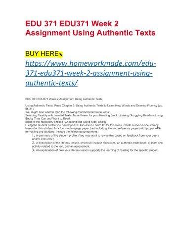 EDU 371 EDU371 Week 2 Assignment Using Authentic Texts