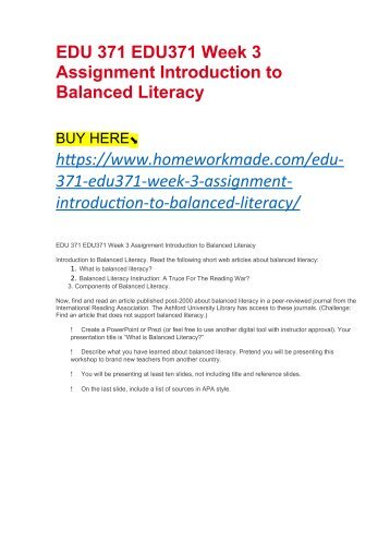 EDU 371 EDU371 Week 3 Assignment Introduction to Balanced Literacy