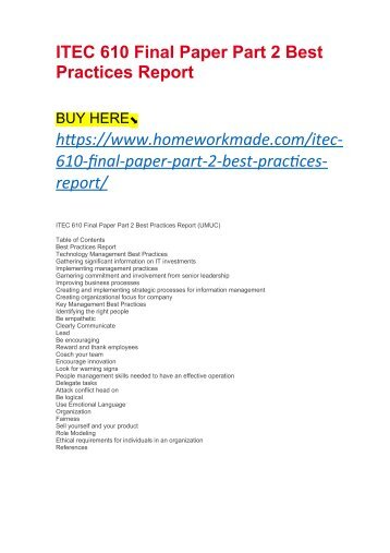 ITEC 610 Final Paper Part 2 Best Practices Report
