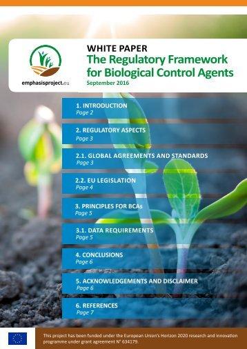 The Regulatory Framework for Biological Control Agents