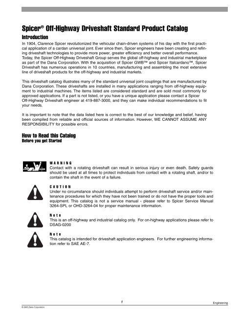 Spicer® Off-Highway Driveshaft Standard Product Catalog - Dana