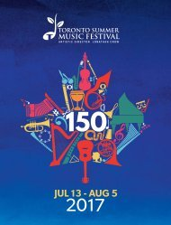 Toronto Summer Music 2017 Brochure