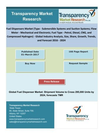 Fuel Dispensers Market - New Research Report By TMR|2016 - 2024