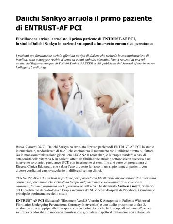 Studio ENTRUST-AF PCI: Daiichi Sankyo arruola il primo paziente