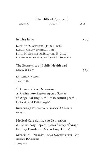 Table of Contents - Milbank Memorial Fund