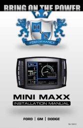 1-888-628-1730 • Mini Maxx Installation Manual 1 - H&S Performance