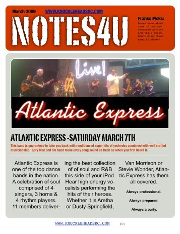 atlantic express -saturday march 7th - Knuckleheads